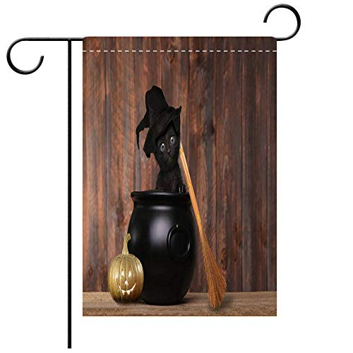 BEICICI Artistically Designed Yard Flags, Double Sided Adorable Kitten Dressed as a Halloween Witch with Hat and Broom in Cauldron Decorative Deck, Patio, Porch, Balcony Backyard, Garden or Lawn
