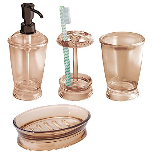 Bath Soap Accessory Dispenser - mDesign Bath Accessory Set, Soap Dispenser Pump, Toothbrush Holder, Tumbler, Soap Dish - 4 Pieces, Sand