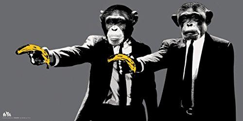 Monkeys Banana Guns Novelty College Art Poster Print, Unfram