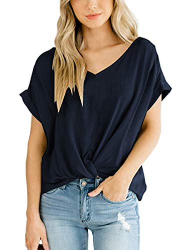 SAMPEEL Women's Summer Short Sleeve Cotton T Shirts Casual Cute Tops Blouses Navyblue L