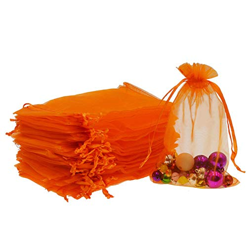 Dealglad 50pcs Drawstring Organza Jewelry Candy Pouch Christmas Wedding Party Favor Gift Bags (3x4, Orange)