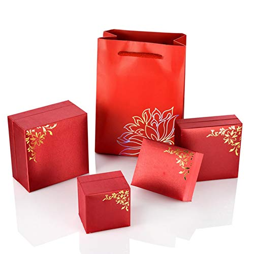 (AMDXD Jewelry Boxes Necklace PU Ring Box Red Flower Ring Box Red Flower Bracelet Box Storage)