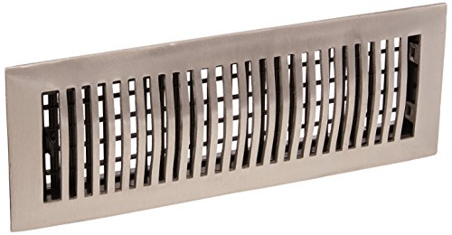 Decor Grates LA414-NKL 4-Inch by 14-Inch Louvered Floor Register, Aluminum Nickel