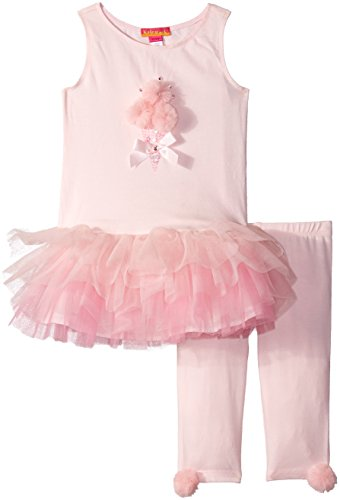 Kate Mack Girls' Toddler Pom Party Tunic and Legging Set, Pink, ()