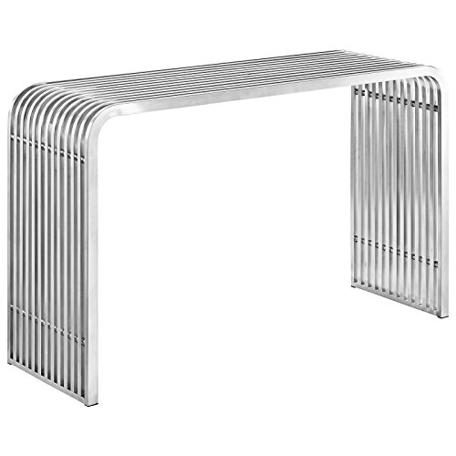 Modway Pipe Stainless Steel Console Table, Silver Review