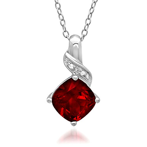 Created Ruby and Diamond Pendant-Necklace in Sterling