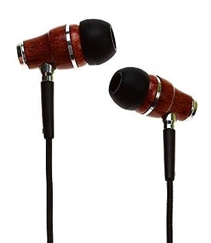 Symphonized NRG Premium Genuine Wood in-Ear Noise-isolating Headphones, Earbuds, Earphones with Microphone Black