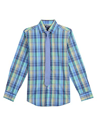 (Tommy Hilfiger Boys' Big Long Sleeve Dress Shirt with Tie, Garden Aqua Green 10)
