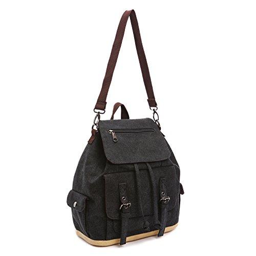 Outreo Mochilas Escolares Mujer Colegio Bolsas de Viaje Mochila Cordón Casual Backpack Vintage Bag Sport Bolso Moda para Escuela Bolsos Bandolera Negro