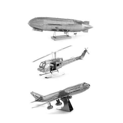 Set of 3 Metal Earth 3D Laser Cut Building Models: UH-1 Huey Bell Helicopter – Graf Zeppelin – Commercial Jet Airplane