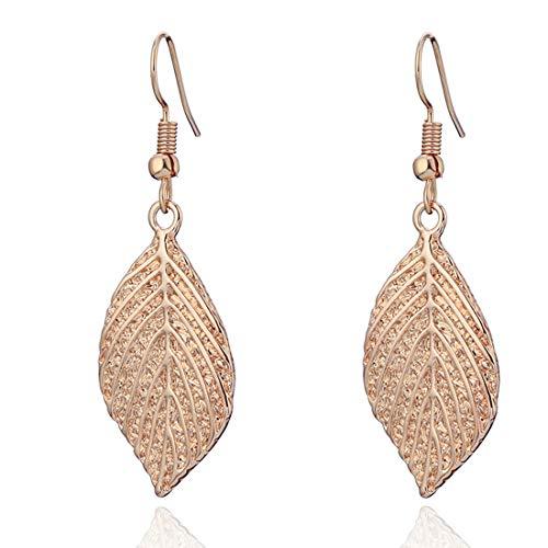 Fashion Leaf Earrings for Women Copper Fish Hook Drop Dangle Earrings Rose Gold D5P25