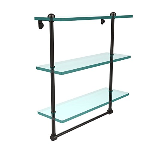 Allied Brass RC-5/16TB-ORB 16 Inch Triple Tiered Glass Shelf with Integrated Towel Bar Oil Rubbed Bronze