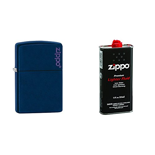Navy Matte Lighter - Zippo Logo Pocket Lighter, Navy Matte with 12 oz Lighter Fluid