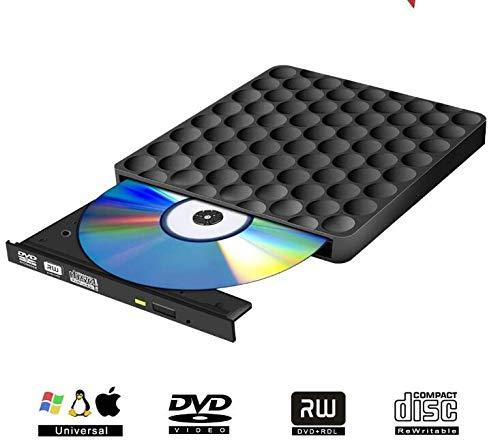 e,Dual USB C and USB 3.0 Superdrive Optical Drive Portable CD/DVD +/-RW Burner for Mac OS Windows Linux Chromebook MacBook (Black) ()
