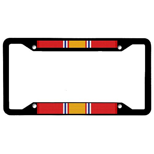 URCustomPro National Defense Service Medal Ribbon License Plate Frame Military, Black Stainless Steel Auto Car Tag Frame, License Plate Cover Holder for US Vehicles, 4 Holes and Screws