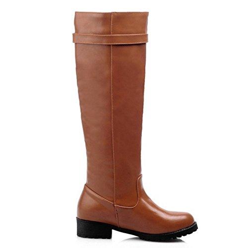 Basso Brown Autunno TAOFFEN Tacco Moda Scarpe Donna 1435 Stivali Alti Inverno con 1zzq4RawA