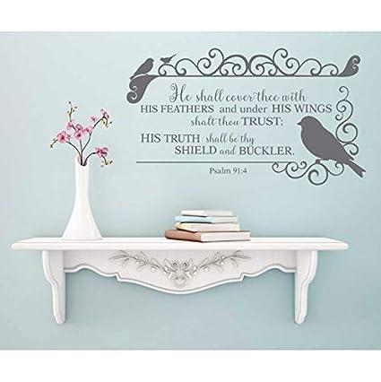 Salmo 91: 4 versetti della Bibbia adesivi murali in vinile ...