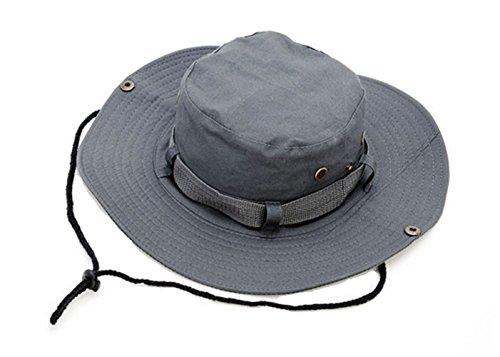 (Keross Boonie Sun Hat Summer Wide Brim Bucket Cap for Camping,Boating, Fishing, Safari, Hiking, Outdoor UV Protection(Grey))