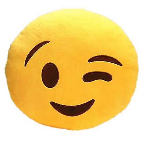 LUXr One 32cm Emoji Wink Emoticon Yellow Round Pillow