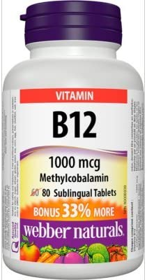 Webber Naturals B12, 1000 mcg Sublingual Methylcobalamin , 80 Tablets Bonus Pack