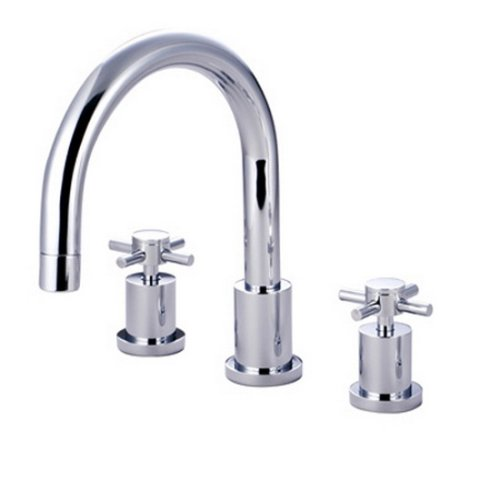 Kingston Brass KS8321DX Concord Roman Tub Filler with Cross Handle, Polished Chrome