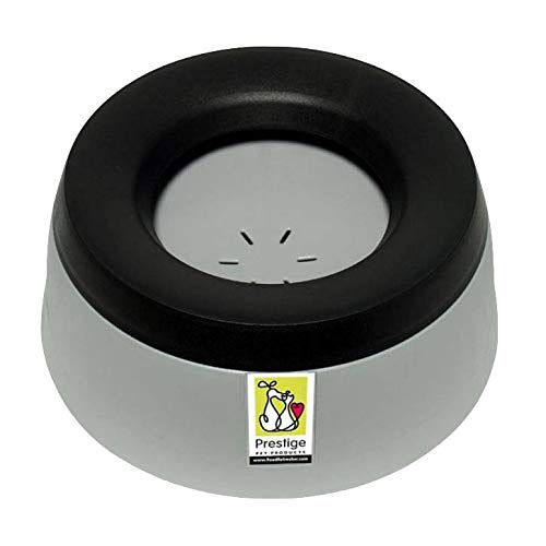 Road Refresher No Slobber, No Spill Dog Water Bowl | Eliminates Water Slobber from Even The Messiest Jowls, No More Wet Floors | Ideal for Home, Travel, Boat, RV | Size Large, Pewter Grey ()
