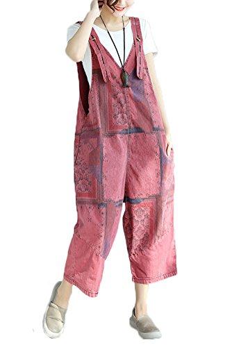 Soojun Womens Cotton Plaid Print Drop Crotch Jean Overalls