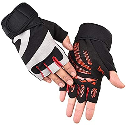 Cycling Gloves Sports Anti-Slip Breathable Half Finger Fitness Mountain Lengthened Wristband Bike Gloves Estimated Price £23.16 -