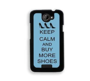 Keep Calm And Buy More Shoes - Coral Floral - Protective Designer BLACK Case - Fits HTC One X / One X+