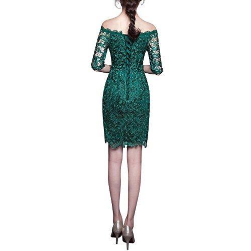 Etuikleider Braut Abendkleider Kleid Schwarz Brautmutterkleider Spitze La mia Knielang Langarm Kurz Attraktive Partykleider Mini BqY58xU