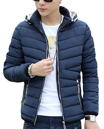 security Men's Fit Coat Warm Winter Jacket Hooded Slim Zip Down Quilted Blue Thick AAwrqHd