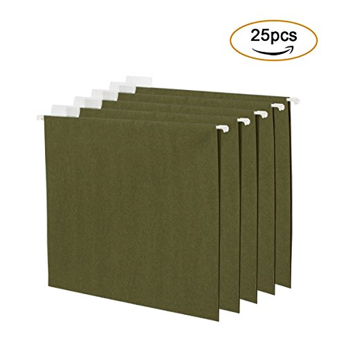 DEVAISE Hanging File Folders Letter Size, 25 Pack File Storage in Green by DEVAISE