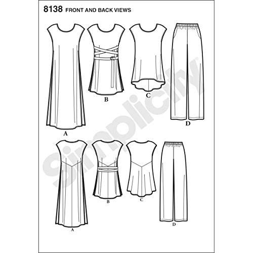 Amazon.com: Simplicity Pattern 8138 Misses Easy-to-Sew Tunics and Pull-On Pants: Arts, Crafts & Sewing