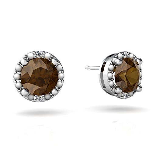 14kt White Gold Smoky Quartz and Diamond 6mm Round Halo Illusion Earrings 14kt Gold 6 Diamond Earrings
