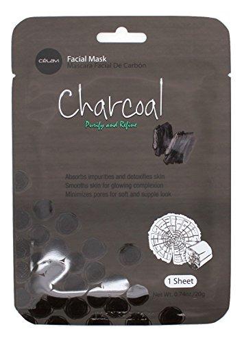 Celavi Essence Facial Mask Paper Sheet Korea Skin Care Moisturizing 12 Pack (Charcoal)
