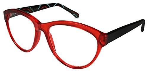 Edge I-Wear Cat Eye Style Rx-Able Reading Glasses for Stylish Women 31909PAS-1.75-2(Clear Red)