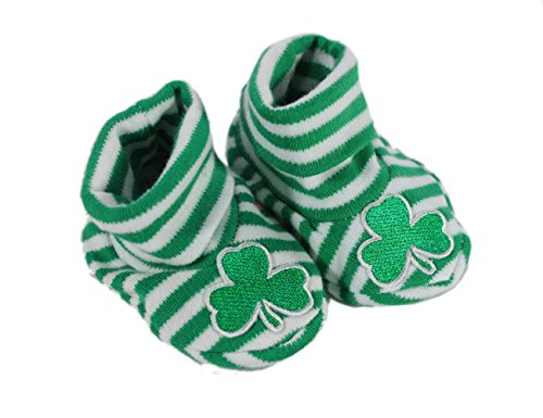 Irish Baby Booties Kelly Green Striped Shamrock (Striped Booties)