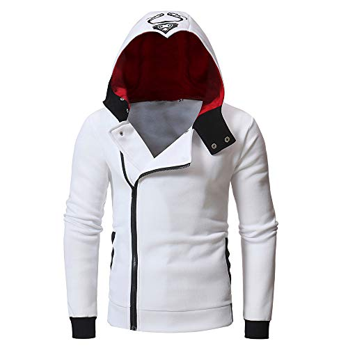 - Amacok Men's Autumn Oblique Zipper Hoodies Funnel Neck Full Zip Hooded Sweatshirt (M, White)