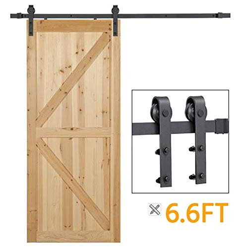 Yaheetech 6.6 Ft Black Steel Sliding Barn Door Hardware Kit -Smoothly and Quietly -Easy to Install -Fit 1 3/8-1 3/4