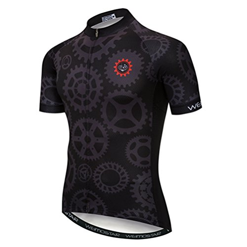 Bike Short Sleeve Cycling Jersey Men Sports MTB Breathable Riding Top Shirts Gear Black XXL
