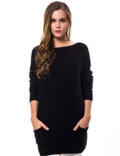 cmz2005 Women Cashmere Knitted Loose Long Pulloves Sweater 836 (F, Black)