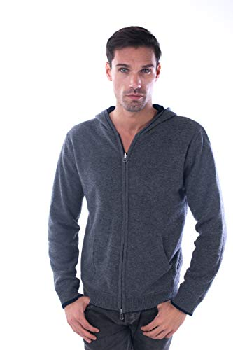 (cashmere 4 U Men's 100% Cashmere Zip Up Cardigan Sweater Hoody Pullover -Reversible and Double Layer)