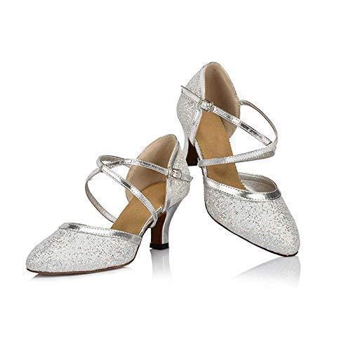 - Anyfun Dance Shoes, Womens Ballroom Dancing Shoes Pumps, mid-Heel, Silver Glitter
