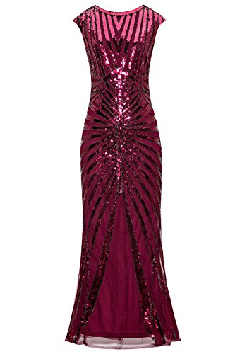 Metme Women's 1920s Vintage Fringed Sequin Long Flapper Gatsby Dress for Party,Wine,X-Small]()