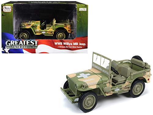 (1941 Willys MB Jeep WWII Army Medic (15th Evacuation Hospital) Camouflage 1/18 Diecast Model Car by Auto World AWML005A)