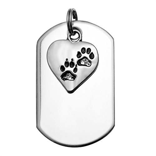 HooAMI Stainless Steel Pet Id Tags for Dogs & Cats with Pet Paw Print Heart Charm