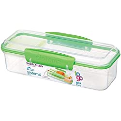 Sistema Snack Attack To Go 410ml / 13.86oz Two compartments Lunch Box Container, Green, 1-Pack