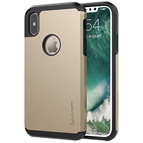 Luvvitt Ultra Armor Case with Dual Layer Heavy Duty Protection and Air Bounce Technology for iPhone X 10 (2017) - Gold