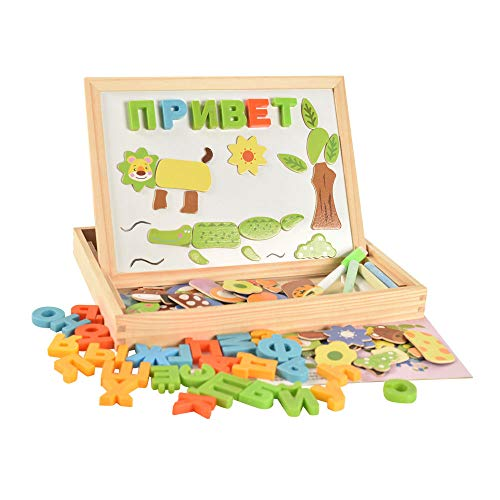 Russian Alphabet Multifunctional Wooden Animal Magnetic Puzzle Drawing Board Learning & Education Toys Hobbies for Children from arpa