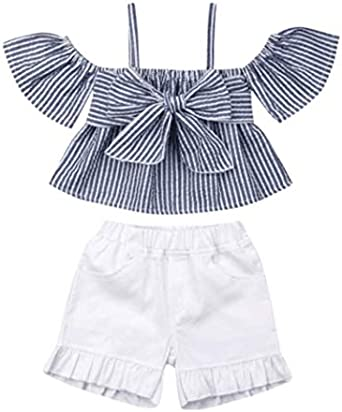 2pcs Toddler Baby Girls Clothes Set stripe Tank Top+pants summer Outfits bowknot